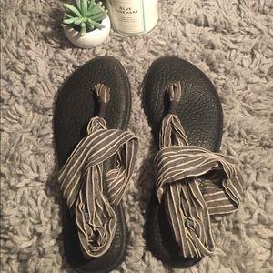 Very Used Sanuks Grey Striped Yoga Slings